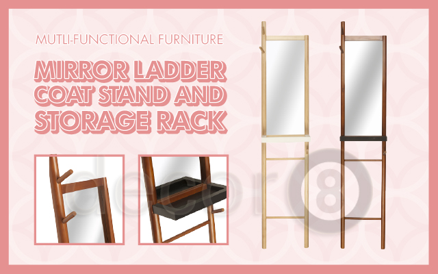 Multi-functional Furniture - The Mirror Ladder Coat Stand and Storage Rack
