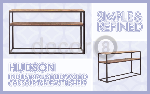 The Hudson Industrial Solid Wood Console Table With Shelf