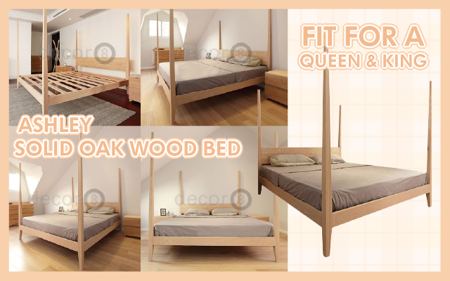 Fit for a Queen & King: Ashley Solid Oak Wood Bed