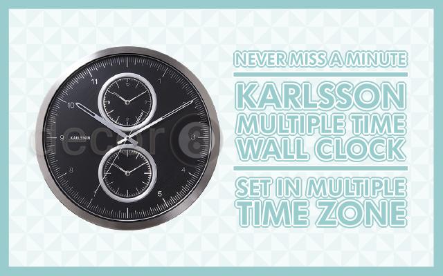 Never Miss a Minute: The Karlsson Multiple Time Wall Clock is Set in Multiple Time Zone