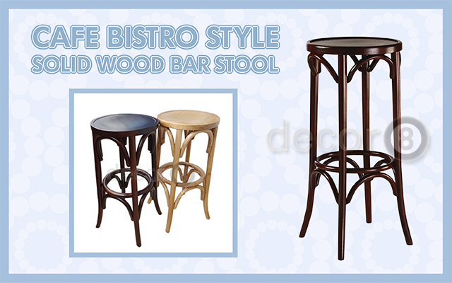 Cafe Bistro Style Solid Wood Bar Stool