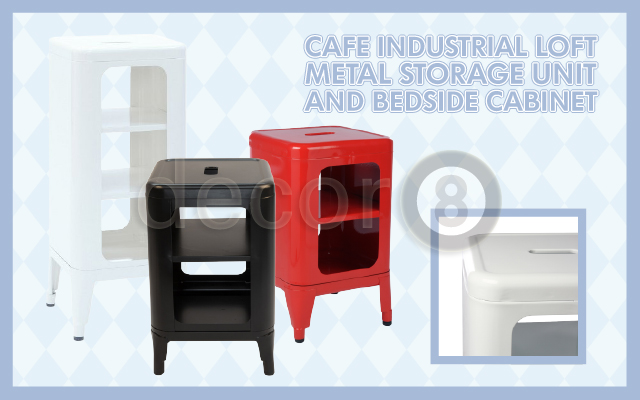 The Cafe Industrial Loft Metal Storage Unit and Bedside Cabinet
