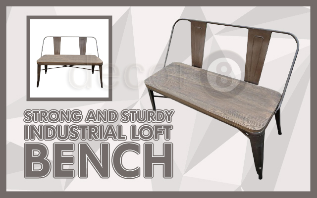 High Back Cafe Industrial Loft Bench with Wood Top