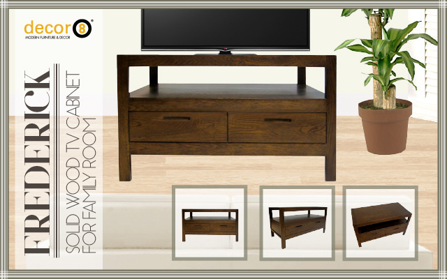 Solid Wood TV Cabinet For Family Room