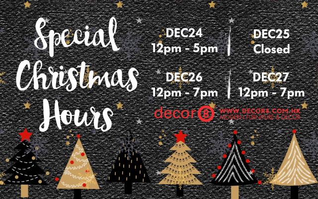 Christmas special hours for Decor8 home and holiday
